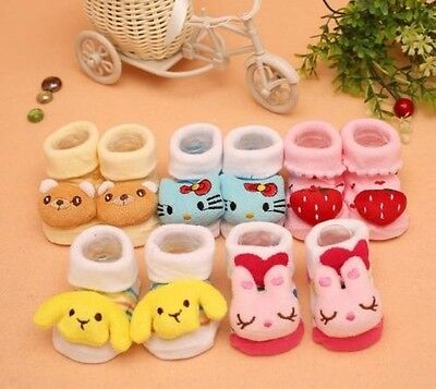 NEW Cotton 3D Newborn Baby Anti-slip Socks Room Socks Toddler Socks 0-12 Months
