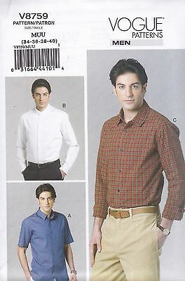Vogue Sewing Pattern Men's Fitted Shirt sizes 34 - 46 V8759 HALF PRICE