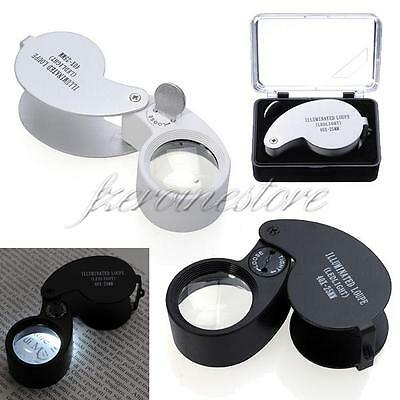 2pcs 40x 25mm LED Light Folded Magnifier Eye Magnifying Glass Jewelry Loupe Loop