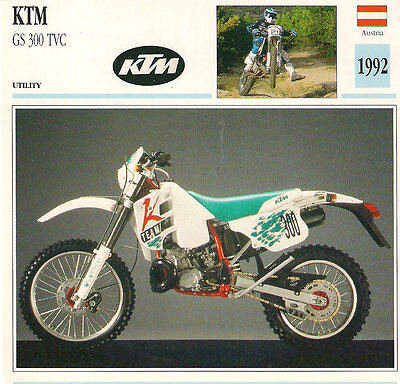 Vintage 1992 KTM GS 300 TVC Utility Austria Motorcycle LARGE Photo/Trading Card