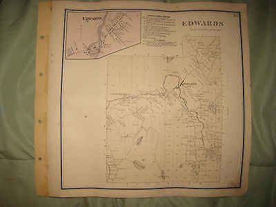 Antique 1865 Edwards St Lawrence County Handcolored Map W Land Owners Rare Nr