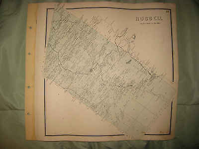 Antique 1865 Russell St Lawrence County New York Handcolor Map W Land Owners Nr