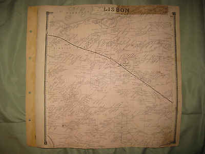Antique 1865 Lisbon St Lawrence County New York Handcolored Map Rare Fine Nr