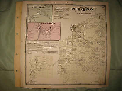 Antique 1865 Pierrepont Dewitt Clare St Lawrence County New York Handcolr Map Nr