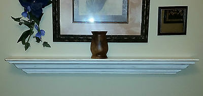Wood Shelf Fireplace Mantle Mantel Antiqued Distressed Shabby Chic White NEW