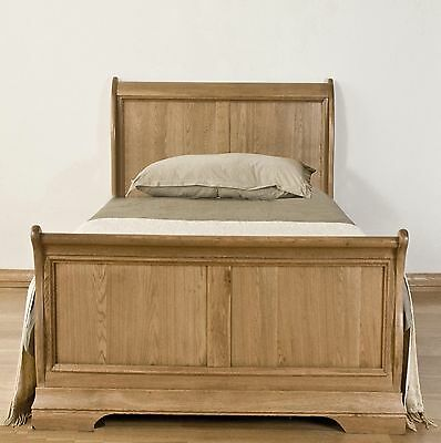 Lourdes solid oak french furniture 3' single bedroom sleigh bed