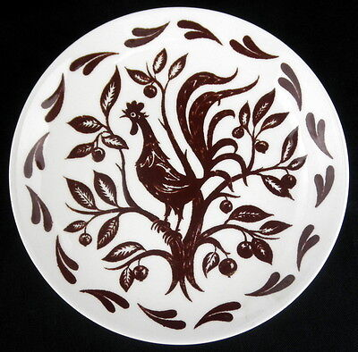 Chanticleer Homer Laughlin Bread and Butter Plate Brown Rooster Tree USA Mult