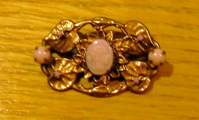 Vintage Gorgeous Pink Glass Cameo Pin/brooch On A Gilt Back Brass Lilly Pad