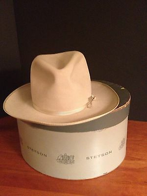 CIRCA 40S STETSON ROYAL DELUXE OPEN ROAD FEDORA HAT SZ 6 7/8 IN BOX