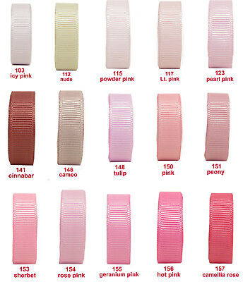 "25y 50y 25mm 1"" Lt. Pink Cameo Rose Premium Grosgrain Ribbon Occasions  Eco"