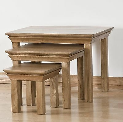 Lourdes solid oak french furniture nest of three coffee tables set