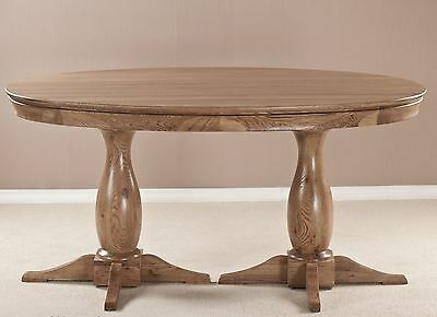 Lourdes solid oak french furniture 1.6m oval dining table