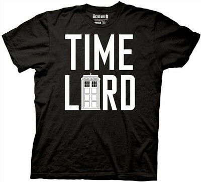 Doctor Who TV Series Time Lord With A Tardis Black Adult T-Shirt, NEW UNWORN