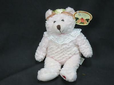 """NEW MARCH OF DIMES I Love MoM Baby PINK TEDDY BEAR LACE COLLAR 2003 PLUSH 9"""""""