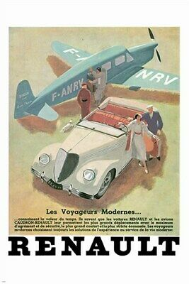 RENAULT automobile ad poster 40's VOYAGEURS-MODERNES classic classy 24X36