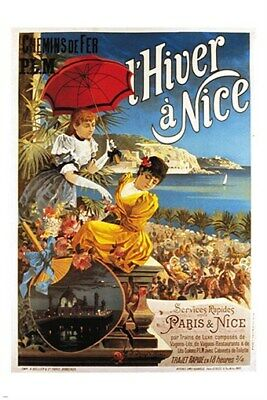 winter in nice france VINTAGE TOURISM POSTER classy ladies COUNTRYSIDE 24X36