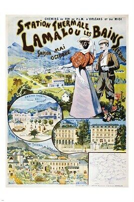 LAMALOU LES BAINS FRENCH TRAVEL POSTER streams mountains TOP QUALITY 24X36