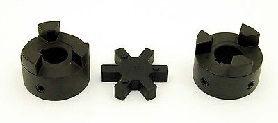 "3/4"" to 1"" L095 Flexible 3-Piece L-Jaw Coupling Coupler Set & Rubber Spider"