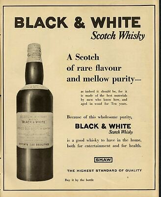 Black And White Scotch Whisky Rare Flavour Mellow Purity Health Entertainment
