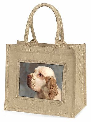 Clumber Spaniel Dog Large Natural Jute Shopping Bag Birthday Gift, AD-CS1BLN