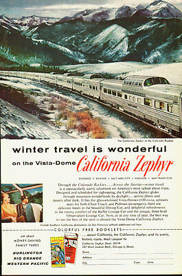 1950s vintage travel ad, the CALIFORNIA ZEPHYR, Vista-Dome Train- 042513