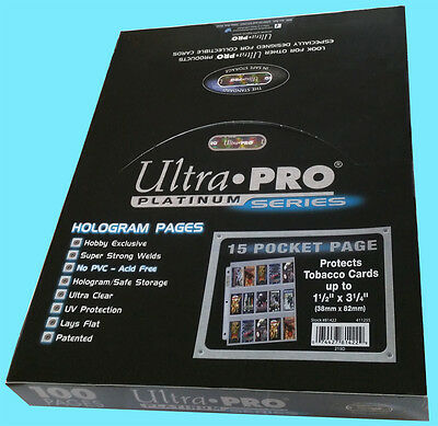 "100 ULTRA PRO PLATINUM 15 POCKET Tobacco Card Pages 1.5x3.25"" Sheets Protectors"