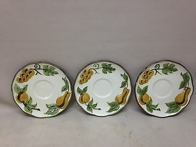 Stangl Pottery Sculptured Fruit Dinnerware Saucers Lot of 3 6""