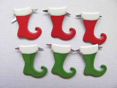 BRADS STOCKINGS mixed pack of 6 christmas xmas card scrapbooking santa split pin