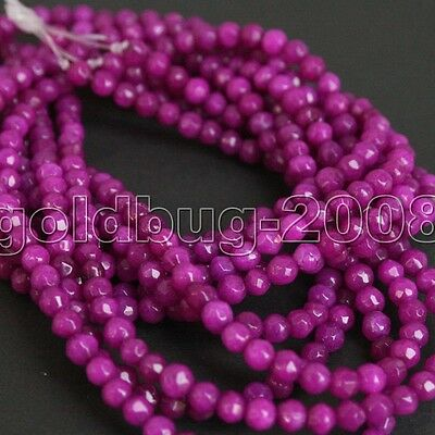 1 strand 4mm Amaranth Jade Faceted Round Loose Beads 15""