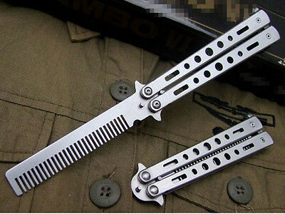 Metal Practice Balisong Butterfly Silver Comb Knife Trainer Tool Cool Sport K22