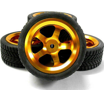 122061 1/10 Scale RC Car On Road Wheel and Tread Tyre Orange Alloy 5 Spoke x 4
