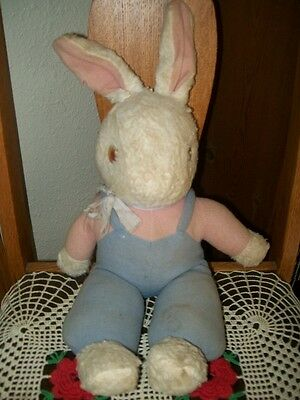 SWEET! Vintage Pink & Blue Overalls Stuffed BUNNY Rabbit Toy Felt WELL LOVED! NR