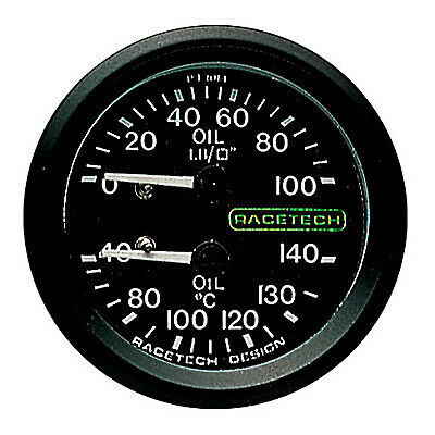 Racetech Oil Pressure - Oil Temperature Dual Mechanical Gauge-7ft Long Capillary