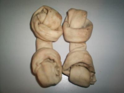 """rawhide knotted bone 4""""-5"""" dog treat 100 pieces PEANUT  BUTTER"""