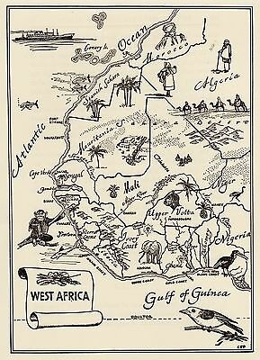 Charming WEST AFRICA Pictorial Map  Fun and Funky 50s Picture Map