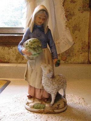 Retired Homco Home Interiors Old Lady with Carrots and Sheep 8811