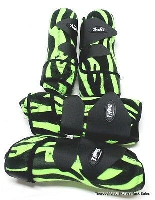 Set of 4 Green Zebra Extreme Vented Neoprene Size Large Sport Boots Horse Tack