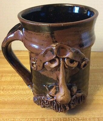 hand Made Coffee mug With Funny Face and 3D Nose - Deep Brown Glaze