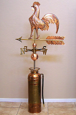 Vintage Copper Geo W. Diener Fire Extinguisher with Mounted Rooster Weathervane
