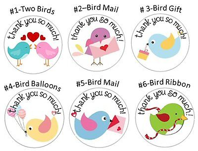 "THANK YOU STICKERS - BIRDS - 1"" Round Stickers"