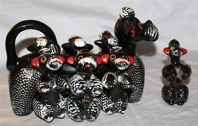 """8 Pc.RARE Redware POODLE Dogs Condiment Spice Canister Set Japan 50's Modern 9""""L"""