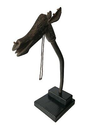 Superb  Old African Bamana Antelope Head Puppet Mali On Stand
