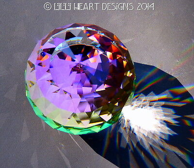 Swarovski Crystal RARE BIG 70MM VM Peacock Color Paperweight Lilli Heart Designs