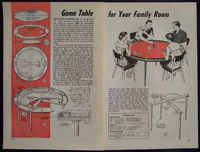 Round CARD & GAME TABLE 1958 How-To build PLANS Poker