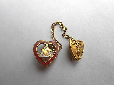 Vintage WOTM Women of the Moose Lodge Shield & Chained FHC Heart Pinback Pin