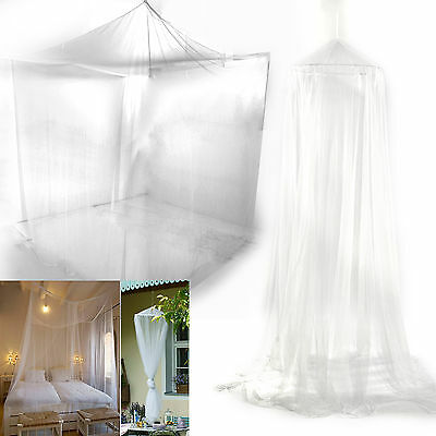 White Mesh Mosquito Net Canopy Bites Protect For Single Double King Size Bed UK