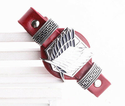 1X Anime Attach On Titan Scouting Cops Mark Punk Red Leather Wristband