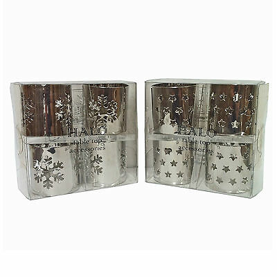 Set of 4 Silver Metal Napkin Rings Christmas Dining Table Decor Accessories