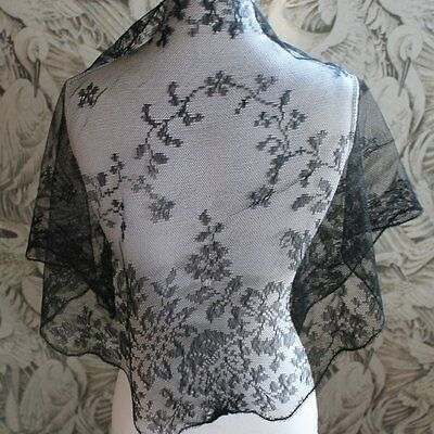 Vintage black flower lace Scarf, Shawl for Funeral