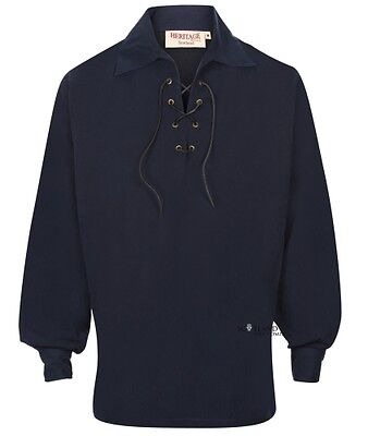 Luxury Microfibre Navy Scottish Ghillie Shirt - Peached Finish S - 2XL